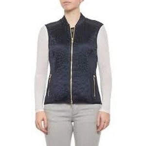 Bogner Navy Blue Ruched Full Zip Vest Medium